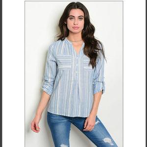 Tops - 🔴🆑🔖Blue stripe long sleeve shirt